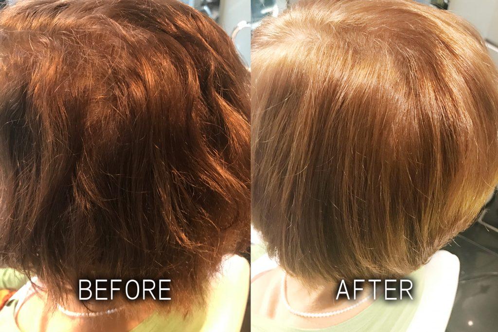 ノンアイロン弱酸性縮毛矯正エアーストレートの施術例